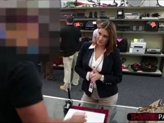 Sexy Brunette College girl selling a book gets hammered by shop owner (4)