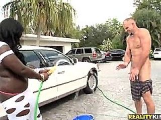 Black Car Wash Girl Bubbles With Juicy Ass And Tits