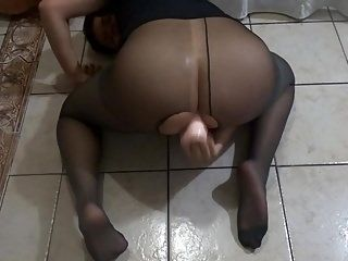 Youngest Twink With Ripped Pantyhose Fucking His Dildo