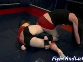 Les Babes Wrestle And Play With Strapon (2)