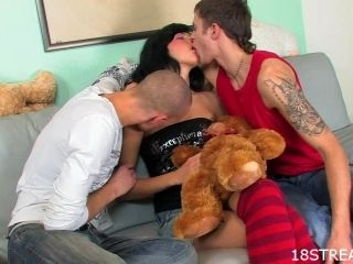 Busty brunette Anetta gets double penetrated by Kornel and Justyn
