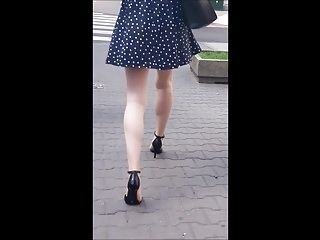 #47 Girl with sexy legs in minidress and high heels