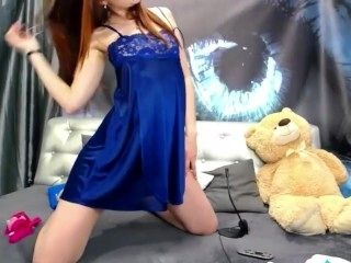 Streamate - ParanormalGirl wearing a dress and heel spit and dool on tits