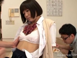 Lusty Japanese model is fucked doggystyle and cum on her mouth