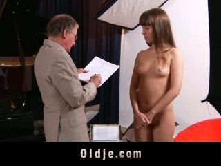 Backstage Sex Movie Featuring Hot Tempered Brunette Riding Old Fart