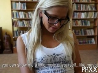Hot blonde blows on the camera for some fun