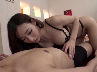 Cutest brunette from Japan gladly spreads legs for the guy's penis