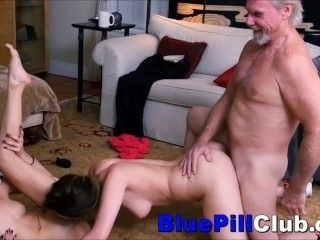 Beautiful Bisexual Teens Fuck Party With Two Old Grandpas
