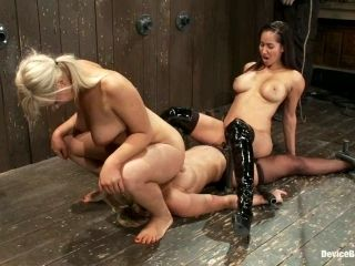 Dominant Bitch Having Fun with Her Two Sex Slaved in BDSM Lesbian Vid