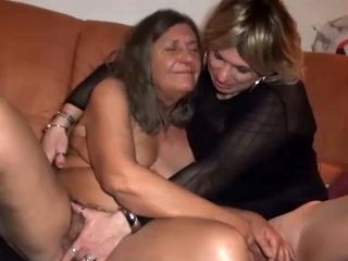 Grey haired nasty slut pleasures blond haired spoiled tranny with solid BJ