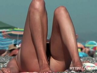 Bitch At The Beach Getting  Horny Nudist Pussy Wet Through In A Warm Summer Day