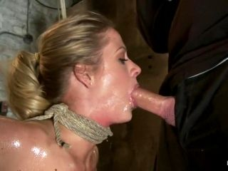 Elbows Bound, Knees On Hard Wood, Nipple Suction, Neck Rope, Breath Play, Face Fucking, Made To Cum!