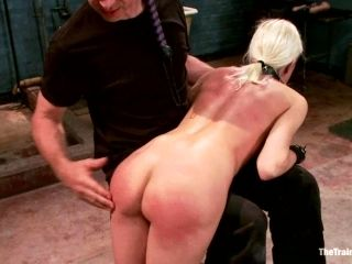 Busty Blondie Rides That Dick In A Cowgirl Style With A Collar On Her Neck