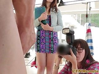 CFNM femdom photographer ass fucks in trio (3)