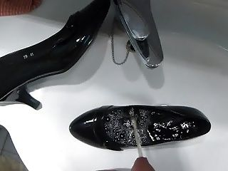 Piss In Mother-In-Laws Black Patent High Heel Shoe