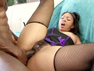 Round Butt Ebony Babe In Lingerie Gets Fucked By Big Black Dick