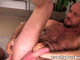 Muscle DILF cocksucked before barebacking ass (3)