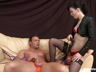 Cheap dominatrix quick on-the-go Dominates muscular guy