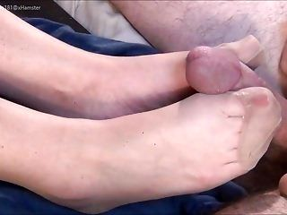 Tan RHT Stocking Tease And Footjob-PART 1-no cum
