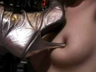 Mistress Torture Lesbian Slaves Tits With Her Heels