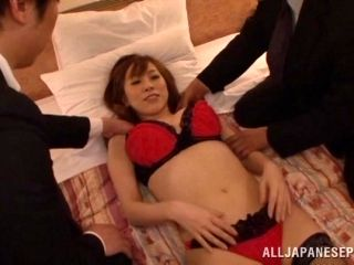 Lingerie-clad Asian porn star with a great body enjoying an awesome threesome