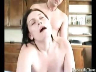Tasha Knox is a chubby woman who gets with her mate in the kitchen