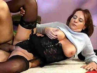 Sewing old granny pleases young guy 4