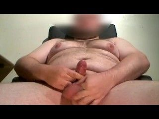 Fat Guy With Small Cock Cumming On His Thigh