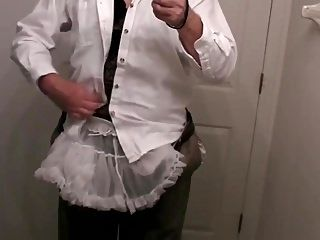 Sissy Crossdresser Wearing Diaper To Work