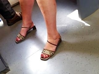 Nice Granny Feet With Red Toenails
