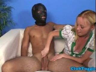 Uniformed Teen Strokes Masked Males Cock