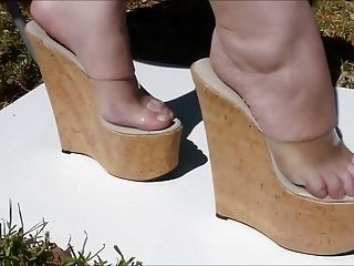 7 Inch High Cork Wedges Foot Play And Posing