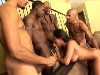 A White Girl Gets All Holes Fucked In An Interracial Gangbang