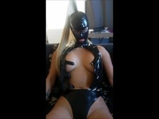 Latex top being opened with Dutch amateur with big tits