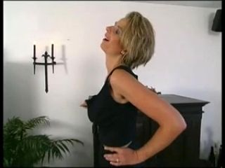 Blonde mother I'd like to fuck disrobes for us (2)