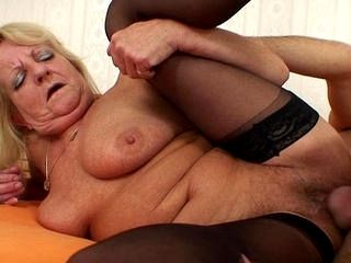 Grandma In Stockings Goes For Cock