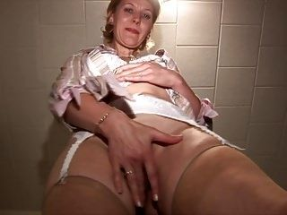Gorgeous Mature blonde Milf in stockings with hairy pussy  (2)