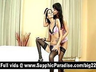Hot Brunette Lesbians Kissing And Licking Nipples And Getting Naked...