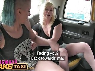 Female Fake Taxi Lesbians have pussy licking wrestle fun