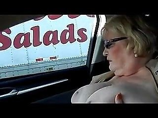 BBW Nude Flashing and Masturbating in Car (3)