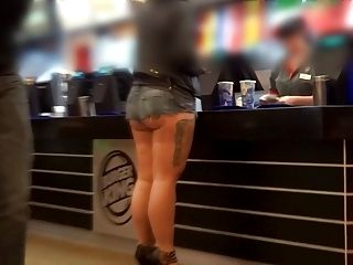 Hot Pants Public Showing Underbutt Ass