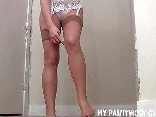 Are my black lace pantyhose turning you on JOI