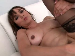 Bosomy black haired MILF Cytherea slipped out of clothes to suck her horny lover off