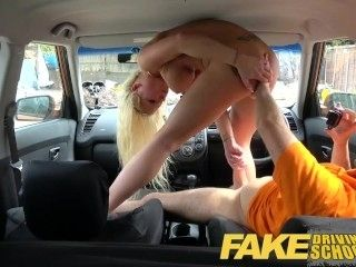 Fake Driving School Stunning blonde gets deep internal creampie on first le (2)