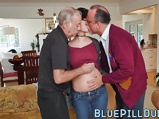 Short Hair Brunette Teen Fucked By Two Big Old Cock Dudes (4)