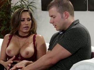 Busty raven haired MILF Reena Sky gets her kitty fingered by kinky dude tough