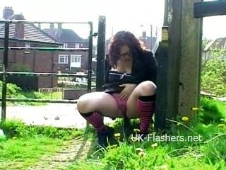 Chubby exhibitionist Nimue Allens amateur public nudity and outdoor (2)