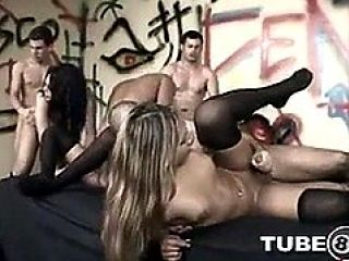 Orgy Slamming Paty For Shemales In Stockings