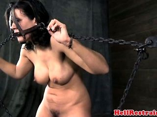 Head Caged Sub Restrained In Chains