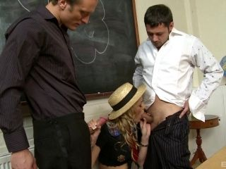 Superhot university blonde in miniskirt has clothed sex with teachers in this hardcore MMF threesome (2)
